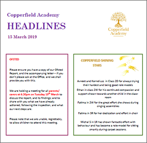 Copperfield Academy Latest Newsletter