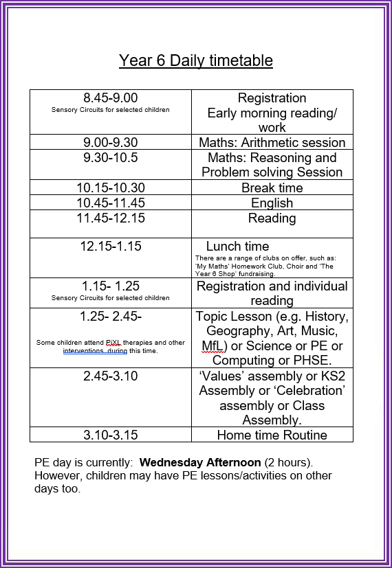 Copperfield Academy Year 6 Timetable